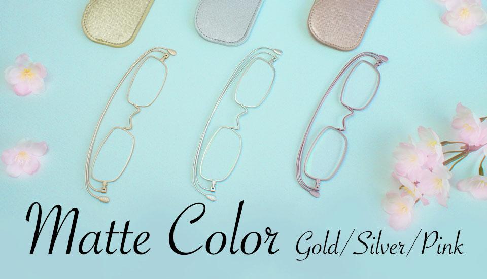 マットカラー(ピンク、シルバー、ゴールド) 老眼鏡