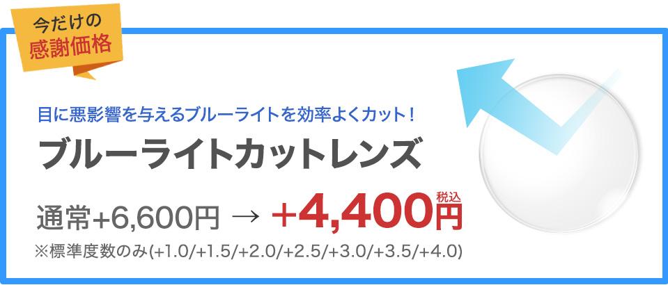 ブルーライトカットレンズ通常6,600円(税込)のところ4,400円(税込)